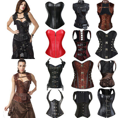 £19.99 • Buy Women Steampunk Leather Basques And Corsets Gothic Strap Plus Size Boned Bustier