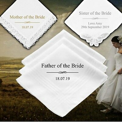 Mother Father Of The Bride Personalised Handkerchief Wedding Gift  • 6.99£