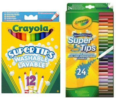 12 X Crayola Kids Colouring Supertips Children's Markers Felts Pencil Crayons • 5.99£