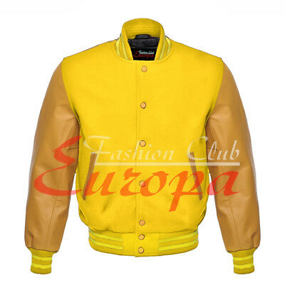£51.87 • Buy College Unisex Letterman Varsity Jacket Wool & Yellow Gold Real Leather Sleeves