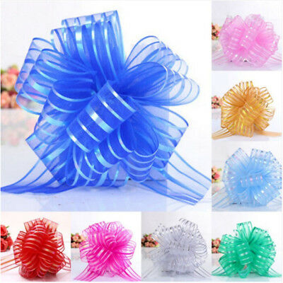 10pcs Large Organza Pull Bow Ribbon Craft Wedding Decoration Gift Packing 50mm • 1.95£