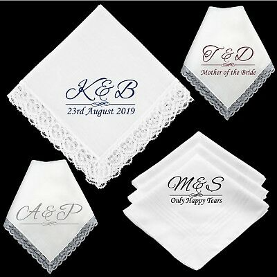 3 Personalised Wedding Handkerchiefs Father Mother Of The Bride Favour Gift • 3.75£