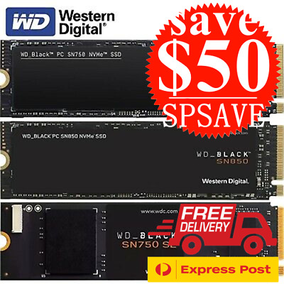 AU185 • Buy WD SSD M.2 Black SN750 SN750SE SN850 NVMe 250GB 500GB 1TB 2TB Solid State Drives