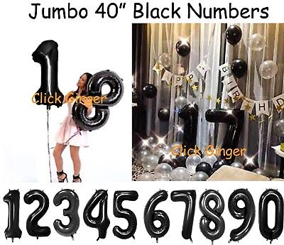 AU3.90 • Buy Black Jumbo Number Foil Balloons Giant Numbers Birthday Balloon 21 18 20 25 30