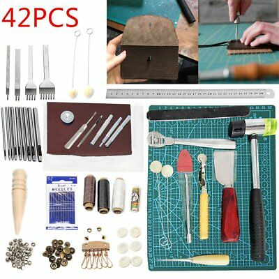 42 Pcs Leather Craft Punch Tools Stitching Carving Cutter Sewing Tool Saddle Cut • 25.99£