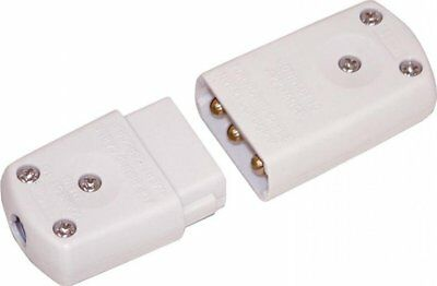 PIFCO HEAVY DUTY 3 Pin Flex Mains Power Plug Connector White Cable Jointer UK CE • 2.99£
