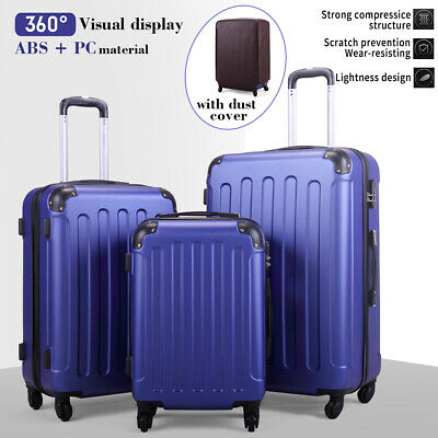 View Details 3 Piece Luggage Set Travel Trolley Suitcase ABS+PC Nested Spinner W/ Cover Blue • 76.99$