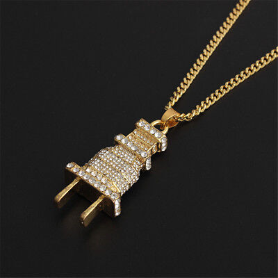 £4.29 • Buy Silver Iced Out Gold Plug Pendant Cuban Chain Necklace Jewellery Bling Fashion