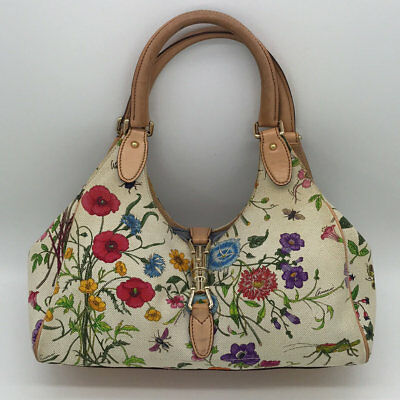 ba357aaf5f00da Gucci White/Multicolored Floral Print Jackie Shoulder Bag • 465.00$