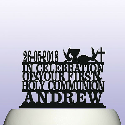 Personalised Acrylic First Holy Communion With Date Cake Topper Decoration • 12.99£