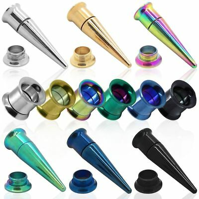 2in1 Taper And Flesh Tunnel Stretcher Ear Plug Double Flared Set Stainless Steel • 2.96£