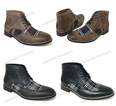 $37.89 • Buy Mens Ankle Boots Wing Tip 2-Tone Plaid Lace Up Leather Lined Oxfords Dress Shoes