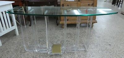 $1500 • Buy 1970's Architectural Staggered Pillar Lucite And Brass Console Table