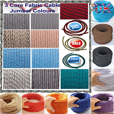 Three Core Twisted Vintage Style  Coloured TWIST Braided Fabric Cable. Lamp Flex • 2.82£