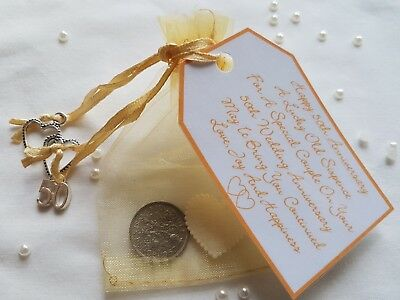 £2.95 • Buy Golden Wedding Anniversary Lucky Sixpence Gift & Charm – 50th