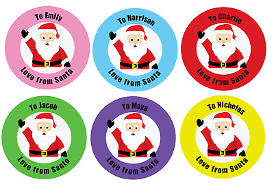 Personalised Christmas Gift Stickers From Santa Xmas Kids Present Labels X 24 S1 • 2.35£