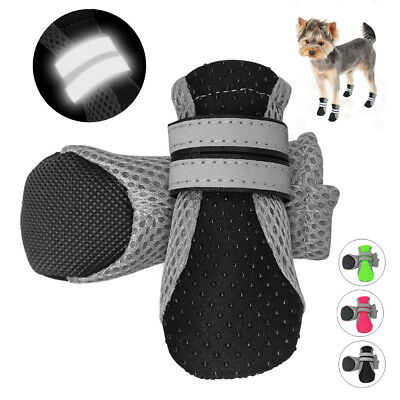 £7.07 • Buy 4pcs Waterproof Dog Shoes Reflective Mesh Boots Booties Anti-slip For Snow Rain