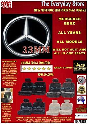 AU265 • Buy MERCEDES BENZ Ultra Luxury Sheepskin Car Seat Covers Pair Airbag Safe 33MM