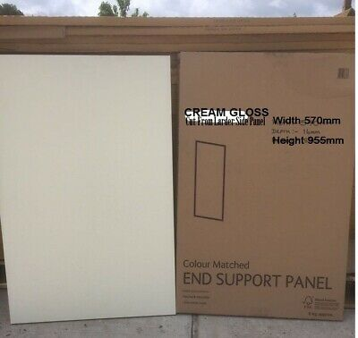 KITCHEN CABINET REPLACEMENT Clad On End Support Panel Cream Gloss 570 X 955 CUT  • 22£