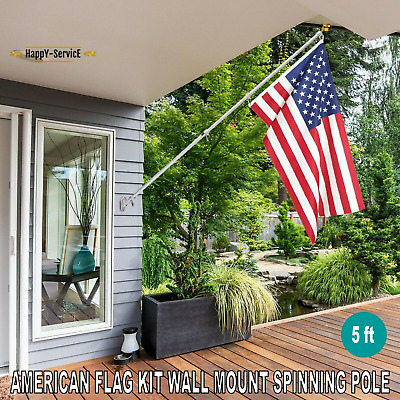 5 FT Aluminum Telescoping Flag Pole Spinning Wall Mount With American Flag Kit • 40.48£