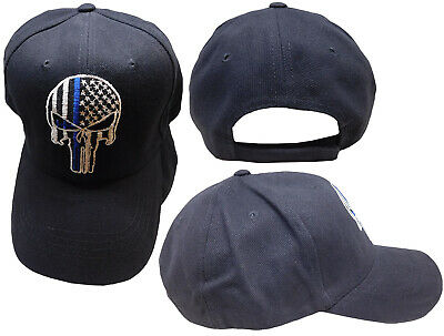 Black TBL Punisher Skull American Flag Thin Blue Line Tactical Baseball Hat  Cap • 8.88  1300e1c4267f
