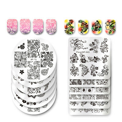 $0.70 • Buy 50 Patterns Born Pretty Nail Art Stamping Plates Flower Rose Leaves Templates