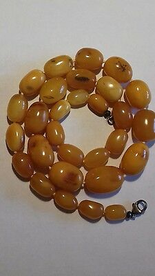 £400 • Buy 44g Vintage 100% Natural Butterscotch Amber Beads Necklace