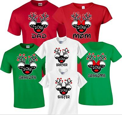 $13.99 • Buy Mickey Deer Minnie MOM DAD Family Disney Vacation Christmas Customized T-Shirts