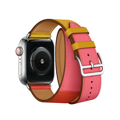 AU24.01 • Buy Leather Double Tour Iwatch 5 Strap Replacement Band For Apple Watch Series 4/3/2