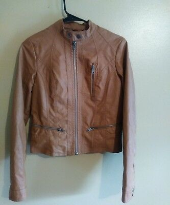 8f84db43138d8 Xhilaration Faux Leather Motorcycle Jacket Womens Size Small Petite Brown  Tan • 39.99$