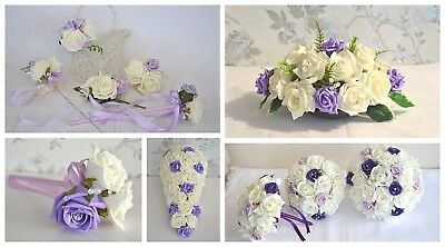 £4.95 • Buy Wedding Bouquet In Purple And Lilac. For Bridesmaid, Bride, Wedding Guest