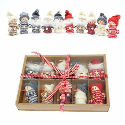Christmas Tree Hanging Decorations Wall Handmade Knitted Tiny Xmas Gift Box Set • 10.89£