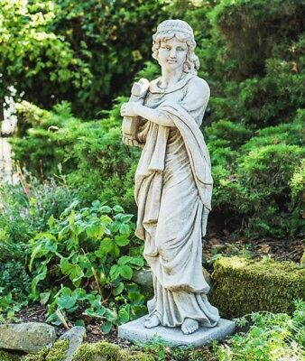 Large Lady With Harp Stone Cast Garden Statue By DGS UK 97KGS • 269£