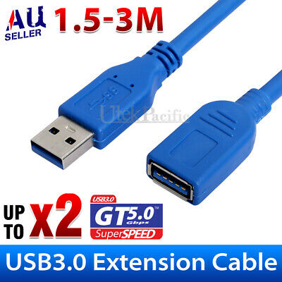 AU6.95 • Buy New USB 3.0 Super Speed Extension Cable Insulation Protected Male To Female Aus