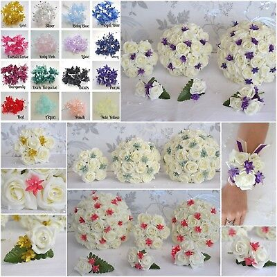 £23.95 • Buy Wedding Bouquet Flowers. Roses And Babies Breath - Choose Colour From Menu