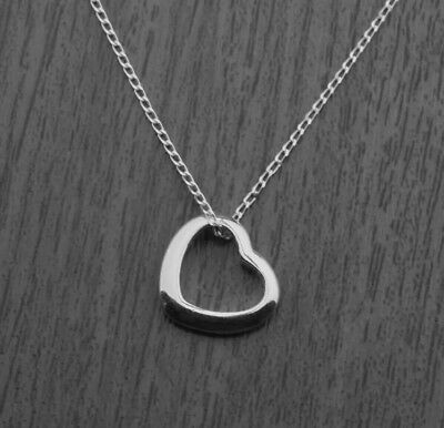 £3.49 • Buy 925 Sterling Silver Floating Heart Pendant Necklace On 18  Curb Chain