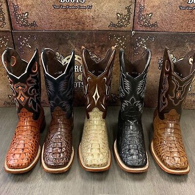 $99.99 • Buy Men's Rodeo Cowboy Alligator Neck Boots Genuine Leather Western Square Toe