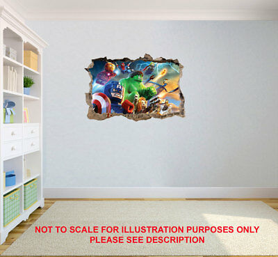 Lego Superhero Poster Marvel Wall Sticker Decal Door Boy Girl Nursery Childrens • 12.99£