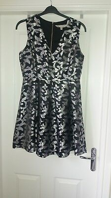 Yumi Black And Silver Butterfly Party Dress Size 14 Worn Once  • 15£