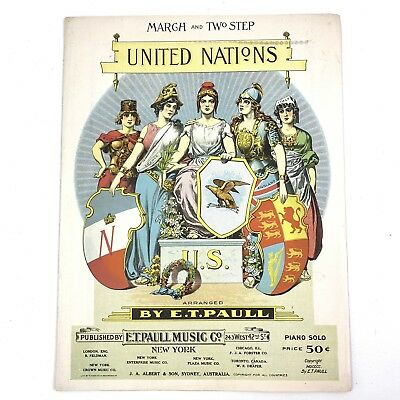 $23.96 • Buy United Nations 1900 W A Corey E T PAULL Lithograph March Two Step Sheet Music