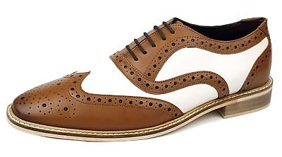 Frank James Newham Brogues 1920 Lace Up Two Tone Mens Leather Shoes Tan / White • 36.99£