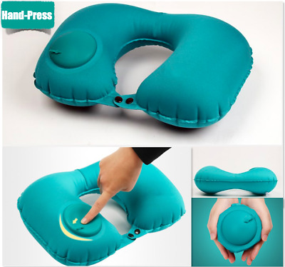 AU9.99 • Buy Up To 2! Hand-Press Portable Inflatable U Shaped Air Travel Neck Pillow HeadRest