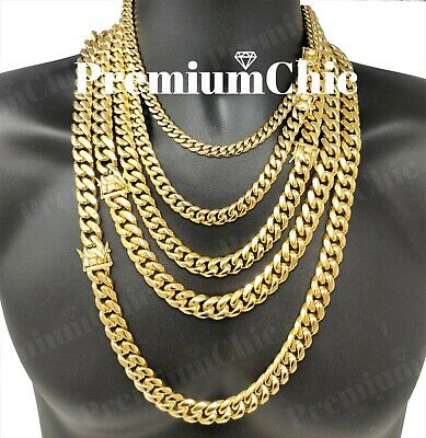 $23.99 • Buy Mens Miami Cuban Link Chain HEAVY 18k / 14k Gold Plated Stainless Steel