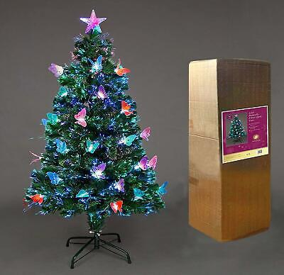 2ft-6ft Fiber Optic Christmas Tree Pre-Lit Xmas LED Lights Butterfly Decoration • 19.99£