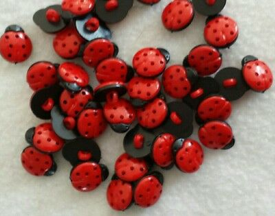 12×LADYBIRD BUTTONS For Crafting/sewing Etc.approx/15MM/acrylic/shank Back. • 2.99£
