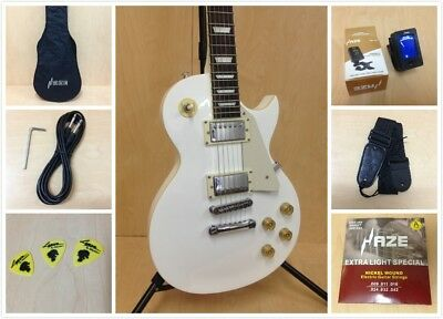AU249 • Buy 4/4 Haze 277WH LP Style Solid Body Electric Guitar,White +Free Gig Bag,Strap