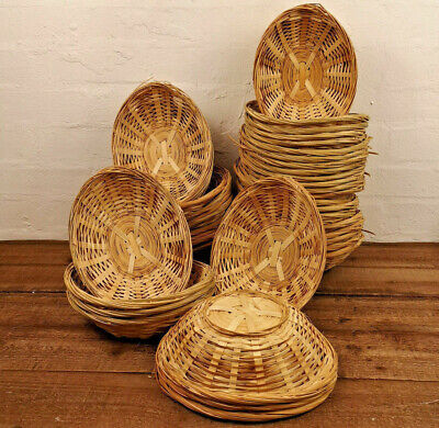 24 X Small Oval Wicker Baskets Fruit Snacks Storage Natural Bamboo Gift Hampers • 27.79£