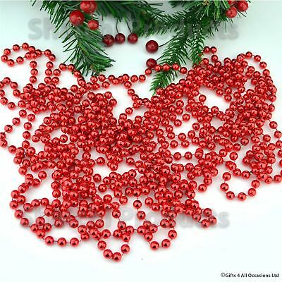 Red Bead Chain Garland Christmas Tree Hanging Decoration Table Wedding 24ft  • 2.85£