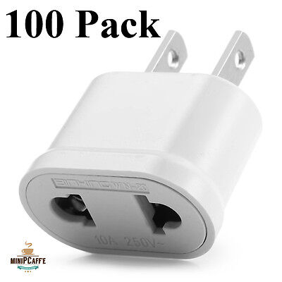 AU158.40 • Buy 100 Pack Lot Of EU Euro Europe To US USA AC Power Plug Converter Adapter Charger
