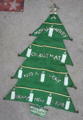 $ CDN42.28 • Buy Vintage Green Felt Christmas Tree Wall Hanging Silver Sequins Candles Writing